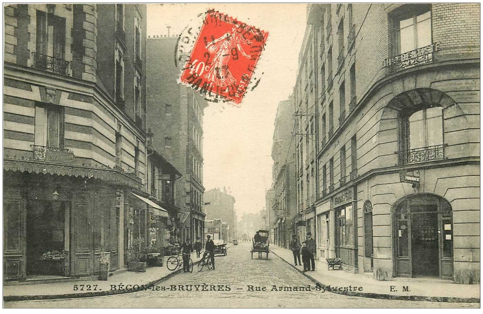 carte postale ancienne K. 92 BECON-LES-BRUYERES. Pharmacie Rue Armand Sylvestre 1919