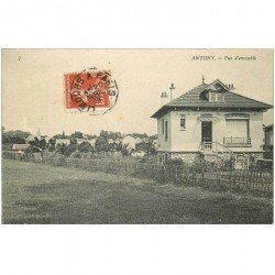 carte postale ancienne K. 92 ANTONY. Vue d'ensemble 1909 25 Boulevard Murat
