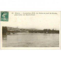 carte postale ancienne Inondation et Crue de 1910. SEVRES 92. Le Pont et Saint-Cloud
