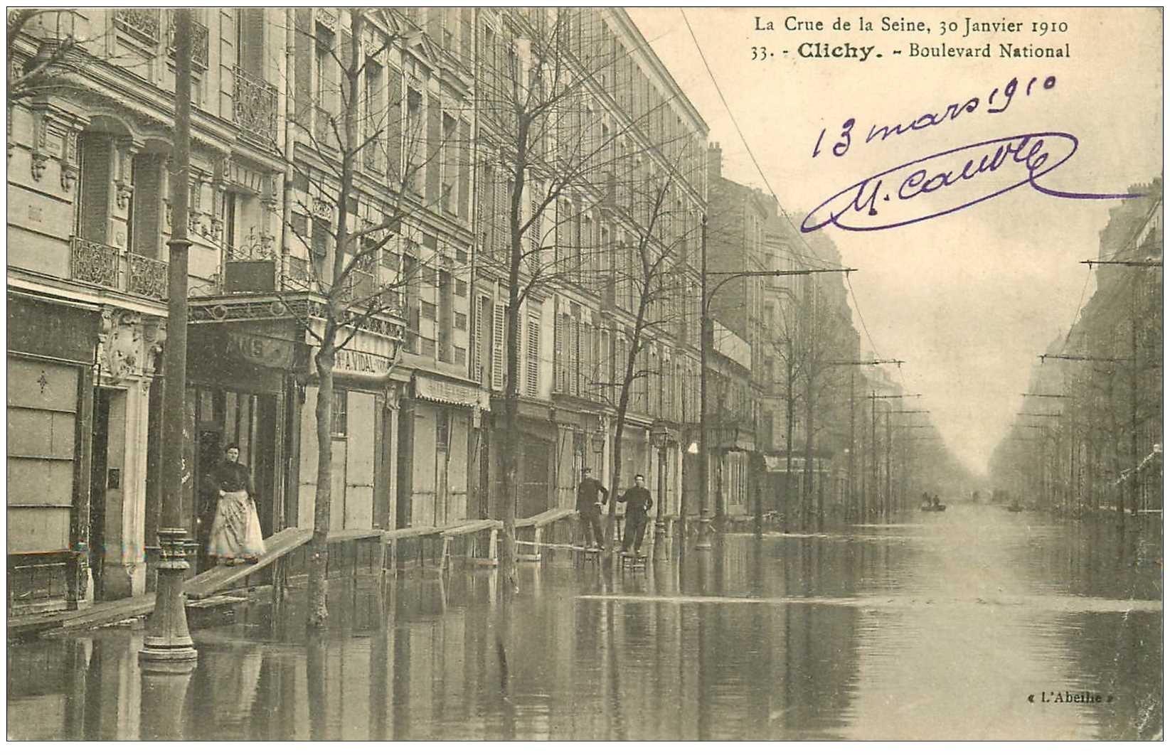 carte postale ancienne Inondation et Crue de 1910. CLICHY 92. Boulevard National