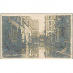 carte postale ancienne Inondation et Crue de 1910. ASNIERES 92. Rue Angeville. Carte Photo