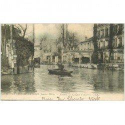 carte postale ancienne Inondation et Crue de 1910. ASNIERES 92. Quai Asnières Rue du Chemin Vert