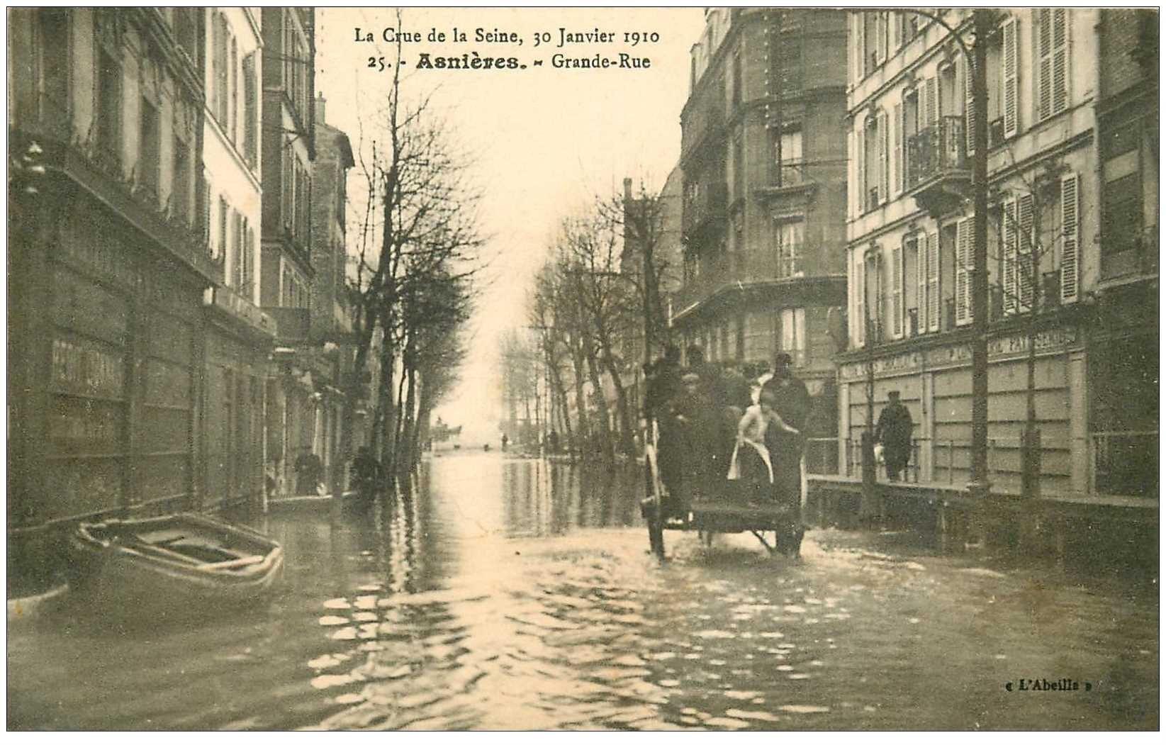 carte postale ancienne Inondation et Crue de 1910. ASNIERES 92. Grande Rue