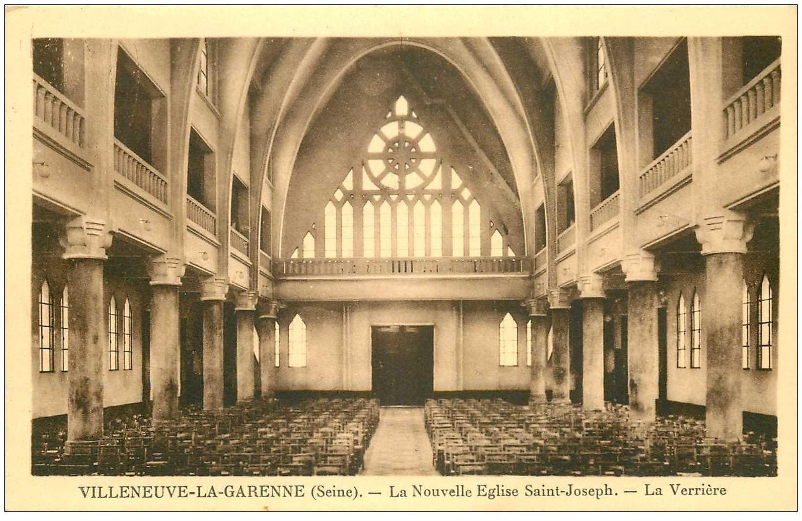 carte postale ancienne 92 VILLENEUVE LA GARENNE. Verrière de l'Eglise Saint Joseph