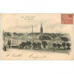 carte postale ancienne 92 SAINT CLOUD. Vue générale et le Pont vers 1903