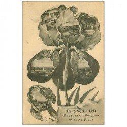 carte postale ancienne 92 SAINT CLOUD. Un Bonjour avec Fleur 1915