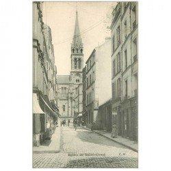 carte postale ancienne 92 SAINT CLOUD. L'Eglise 1910 et commerc Caves à vins