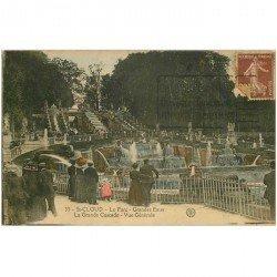 carte postale ancienne 92 SAINT CLOUD. Grande Cascade des Grandes Eaux du Parc 1921 en couleur