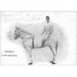 carte postale ancienne 92 SAINT CLOUD. Charly le Jockey anglais d'Epson. Cirque Lambert 1909