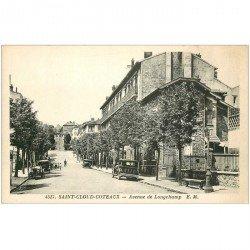 carte postale ancienne 92 SAINT CLOUD COTEAUX. Avenue de Longchamp Voitures et Car anciens