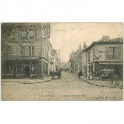 carte postale ancienne 92 RUEIL. La Rue de Maurepas 1905 Café et Commerce comestibles et huiles Benzo