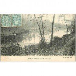 carte postale ancienne 92 RUEIL. Etang avec cycliste 1905