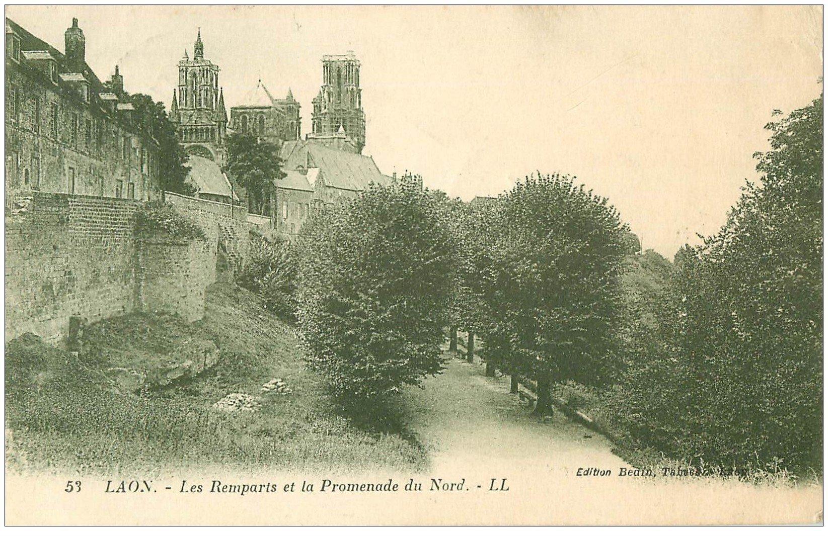 02 laon remparts et promenade 1935 for Code postal laon 02