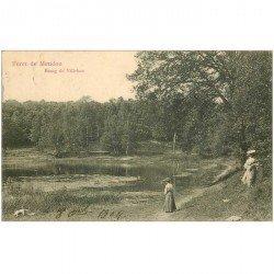 carte postale ancienne 92 MEUDON. Forêt. Elegantes à l'etang de Villebon 1904
