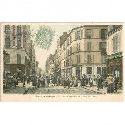 carte postale ancienne 92 LEVALLOIS PERRET. Rues Chevalier et des Arts 1906 Restaurant et Café. Impeccable