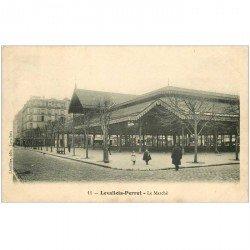 carte postale ancienne 92 LEVALLOIS PERRET. Le Marché 1906