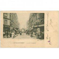 carte postale ancienne 92 LEVALLOIS PERRET. La rue du Marché 1903