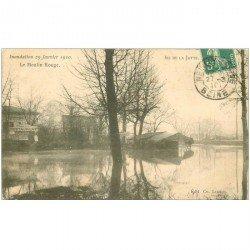 carte postale ancienne 92 LEVALLOIS PERRET. Ile de la Jatte. Le Moulin Rouge 1910. Inondation