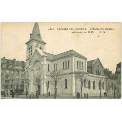 carte postale ancienne 92 LEVALLOIS PERRET. Eglise Saint Justin