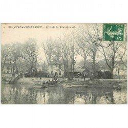carte postale ancienne 92 LEVALLOIS PERRET. Bac pour l'Ile de la Grande Jatte 1909