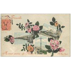 carte postale ancienne 14 TROUVILLE. Elégantes sur la Jetée avec ombrelles parapluies 1906