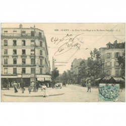 carte postale ancienne 92 CLICHY. Place Victor Hugo et Boulevard National 1906 Epicerie Fournel