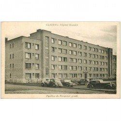 carte postale ancienne 92 CLICHY. L'Hôpital Beaujon Pavillon du Personnel gradé avec voitures Traction avant