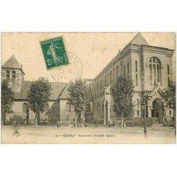 carte postale ancienne 92 CLICHY. L'Eglise ancienne et nouvelle 1910