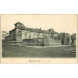 carte postale ancienne 92 CLICHY. Hôpital Goüin rue du Bois vers 1900