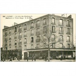 carte postale ancienne 92 CLICHY. Café du Cycle Boulevards National et Victor Hugo. Cabinet dentaire en étage