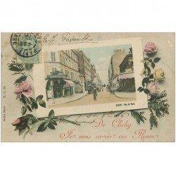 carte postale ancienne 92 CLICHY. Buvette Richard rue de Paris en encadré de Fleurs 1906