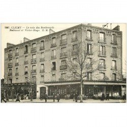carte postale ancienne 92 CLICHY. Boulevards National et Victor Hugo Café du Cycle