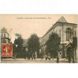carte postale ancienne 92 CLICHY. Ancienne et Nouvelle Eglise 1911. Décollement d'un morceau en blanc...