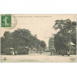 carte postale ancienne 92 BOULOGNE SUR SEINE. Tramway électrique à l'Entrée de la Grande Rue 1913