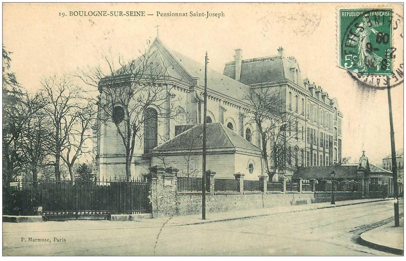 carte postale ancienne 92 BOULOGNE SUR SEINE. Pensionnat Saint Joseph 1909