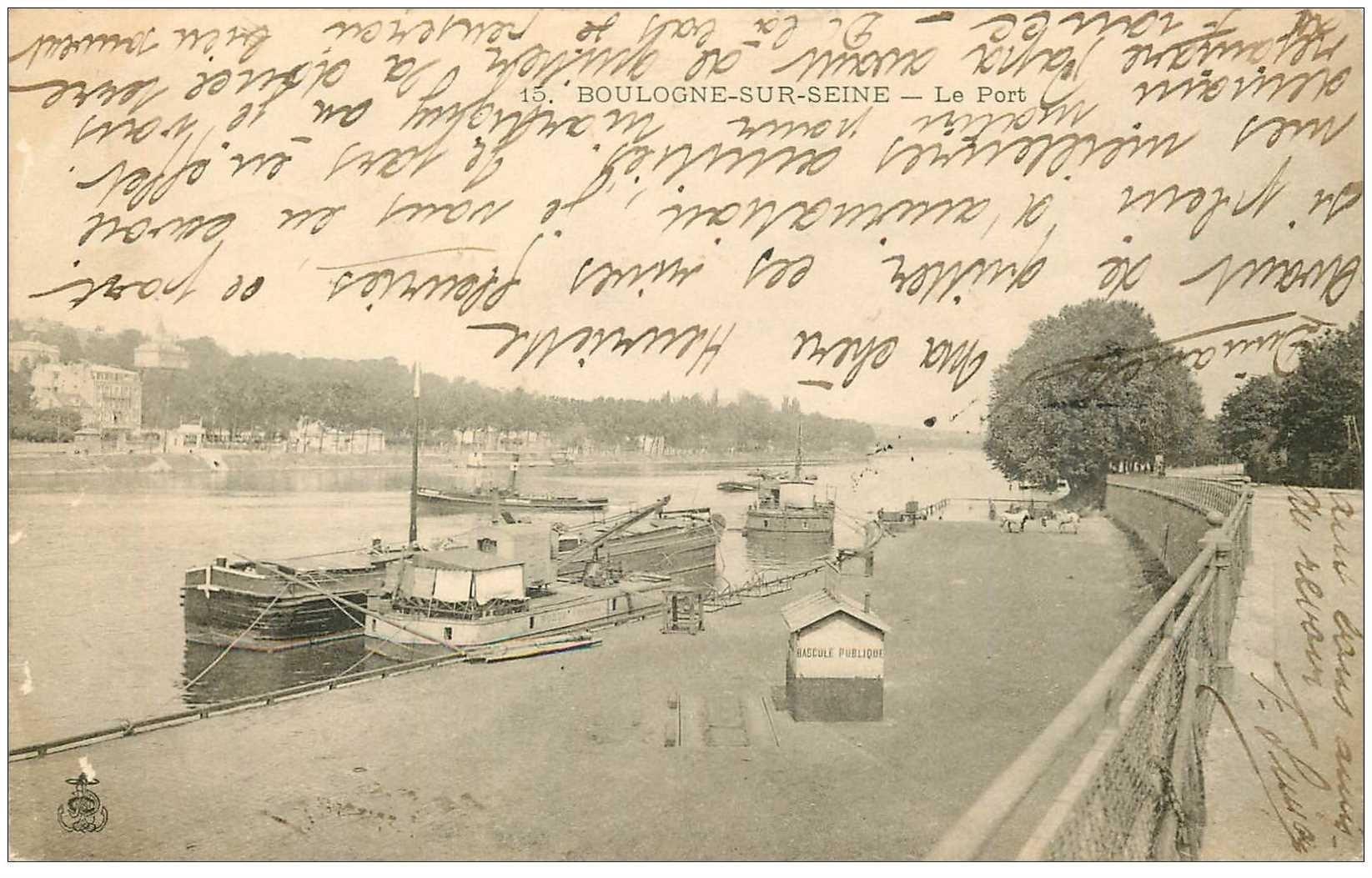 carte postale ancienne 92 BOULOGNE SUR SEINE. Le Port 1903 avec Bascule publique pour marchandise sur attelage