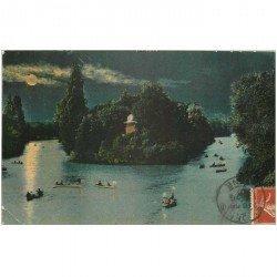 carte postale ancienne 92 BOULOGNE SUR SEINE. Le Lac du Bois de nuit 1907. Petit pli coin gauche
