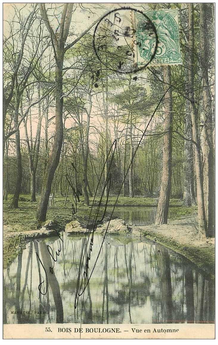carte postale ancienne 92 BOULOGNE SUR SEINE. Le Bois en Automne 1907
