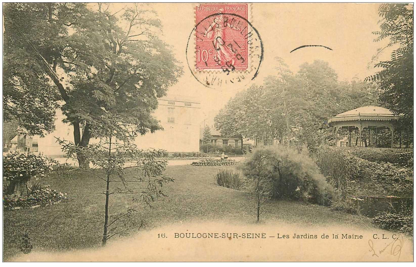 carte postale ancienne 92 BOULOGNE SUR SEINE. Kiosque à musique Jardins de la Mairie 1907