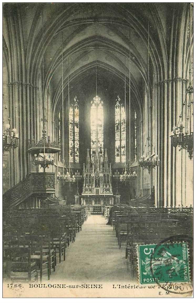 carte postale ancienne 92 BOULOGNE SUR SEINE. Intérieur de l'Eglise 1915
