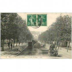 carte postale ancienne 92 BOULOGNE SUR SEINE. Fiacres Cours de la Reine 1912