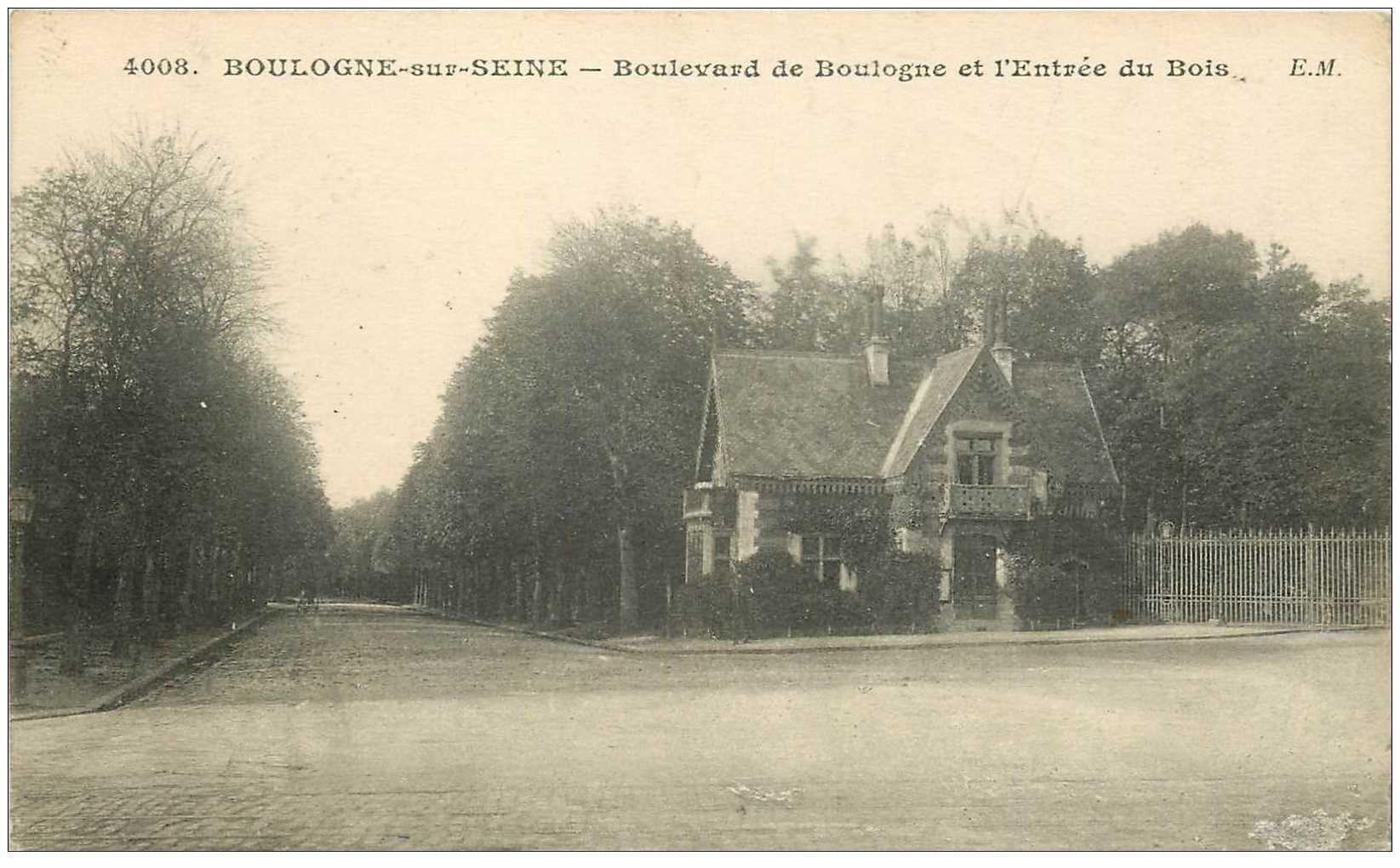 carte postale ancienne 92 BOULOGNE SUR SEINE. Entrée du Bois Boulevard de Boulogne. Avec le T taxe du Facteur 1915