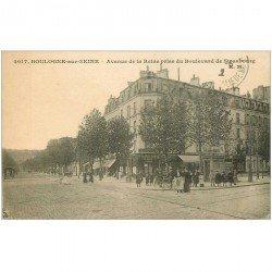 carte postale ancienne 92 BOULOGNE SUR SEINE. Comptoir National Escomptes Avenue de la Reine et Boulevard de Strasbourg 1922