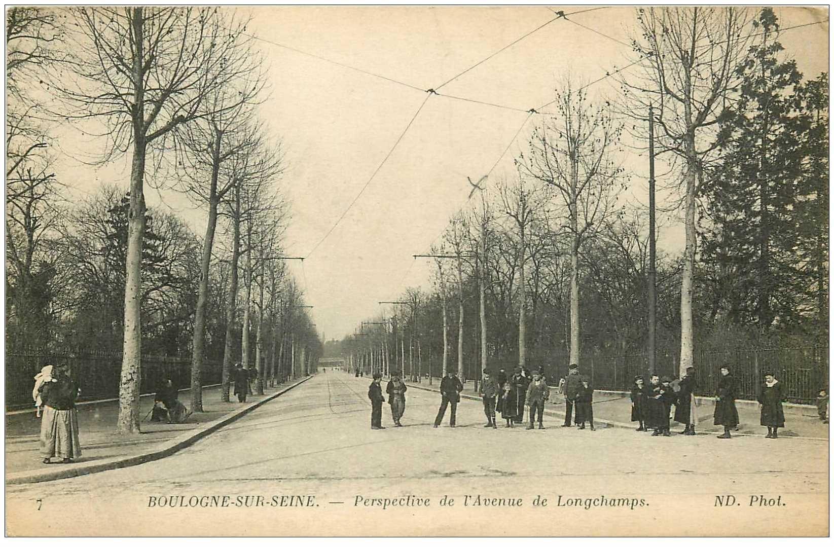 carte postale ancienne 92 BOULOGNE SUR SEINE. Avenue de Longchamps 1916