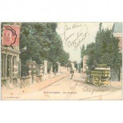 carte postale ancienne 92 BOIS COLOMBES. Rue du Sentier attelage livraison du lait du Château de Mareil 1905