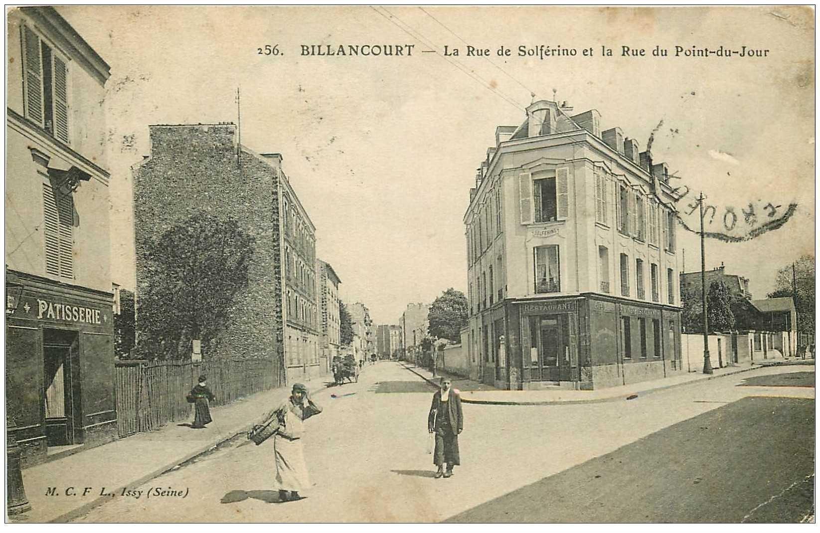 carte postale ancienne 92 BILLANCOURT. Rues Solférino et du Point du Jour Restaurant et Pâtisserie