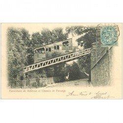 carte postale ancienne 92 BELLEVUE. Funiculaire et Chemin de Panurge 1906