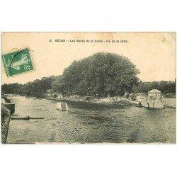 carte postale ancienne 92 BECON. Ile de la Jatte. Timbre Taxe 1916 et pli coin droit