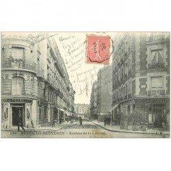 carte postale ancienne 92 BECON LES BRUYERES. Avenue de la Liberté 1907 Café et Ferme de Freneuse