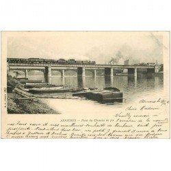 carte postale ancienne 92 ASNIERES SUR SEINE. Train sur Pont du Chemin de Fer 1902